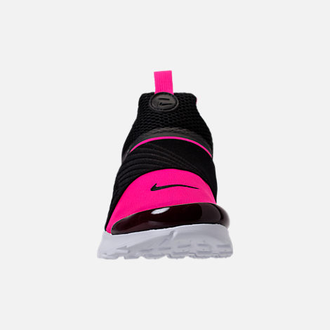 Front view of Girls' Preschool Nike Presto Extreme Running Shoes in Black/Pink Prime/White