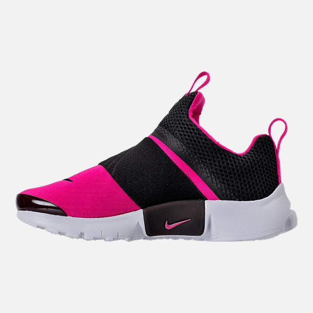 Left view of Girls' Preschool Nike Presto Extreme Running Shoes in Black/Pink Prime/White