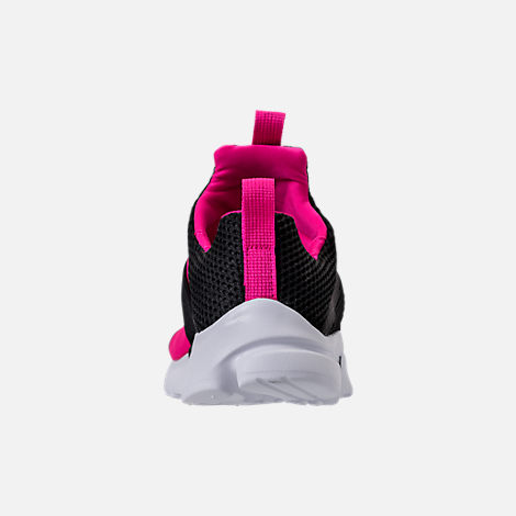 Back view of Girls' Preschool Nike Presto Extreme Running Shoes in Black/Pink Prime/White