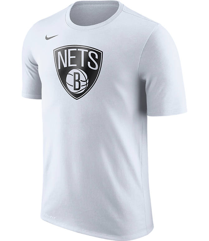 Front view of Men's Nike Brooklyn Nets NBA Logo T-Shirt in White