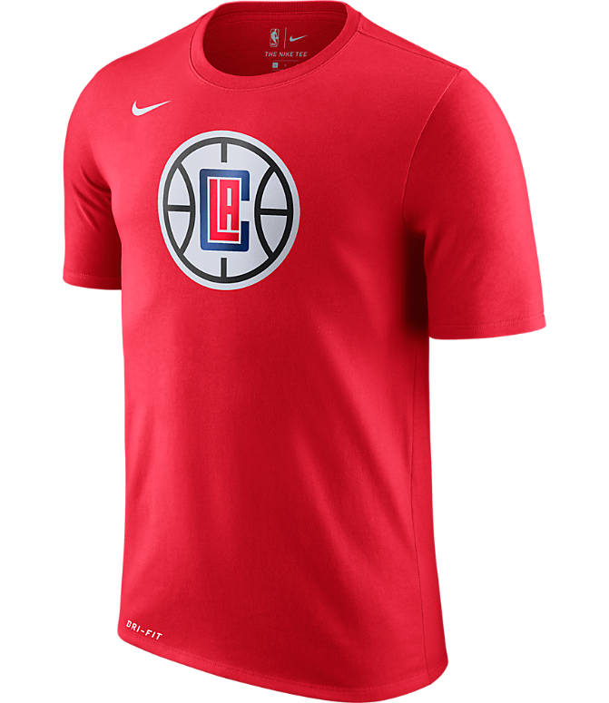 Front view of Men's Nike Los Angeles Clippers NBA Logo T-Shirt in University Red