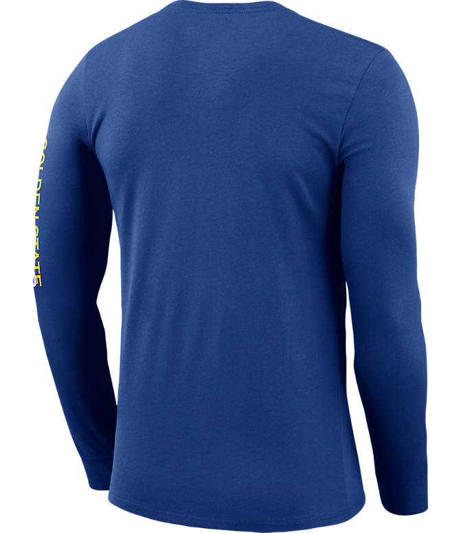 Back view of Men's Nike Golden State Warriors NBA Logo Long-Sleeve T-Shirt in Rush Blue