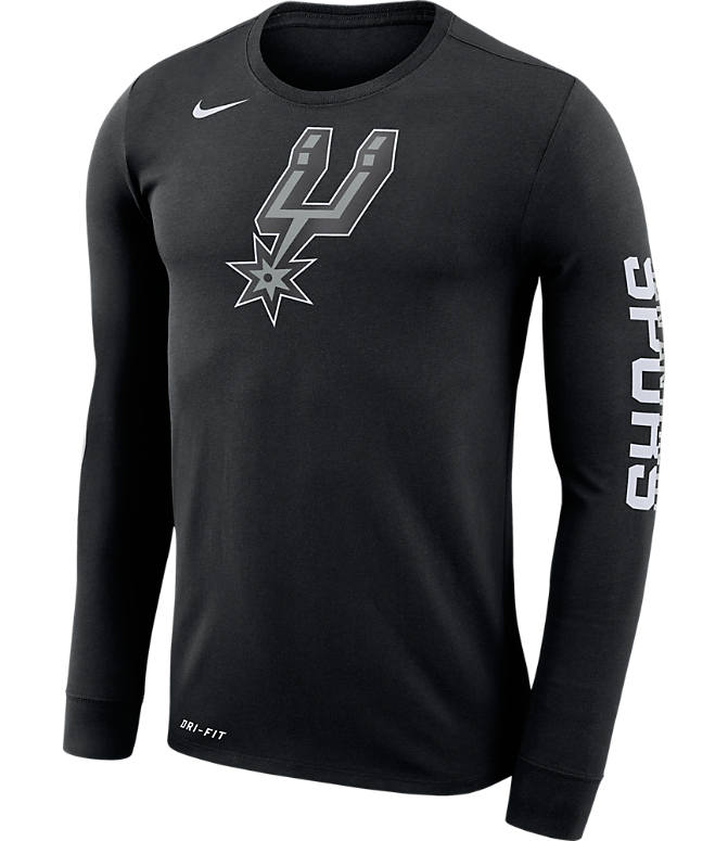 Front view of Men's Nike San Antonio Spurs NBA Logo Long-Sleeve T-Shirt in Black