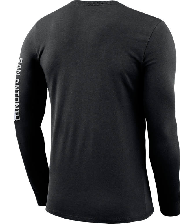 Back view of Men's Nike San Antonio Spurs NBA Logo Long-Sleeve T-Shirt in Black