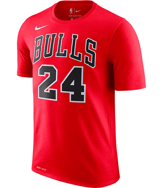 Back view of Men's Nike Chicago Bulls NBA Lauri Markkanen Name and Number T-Shirt in University Red