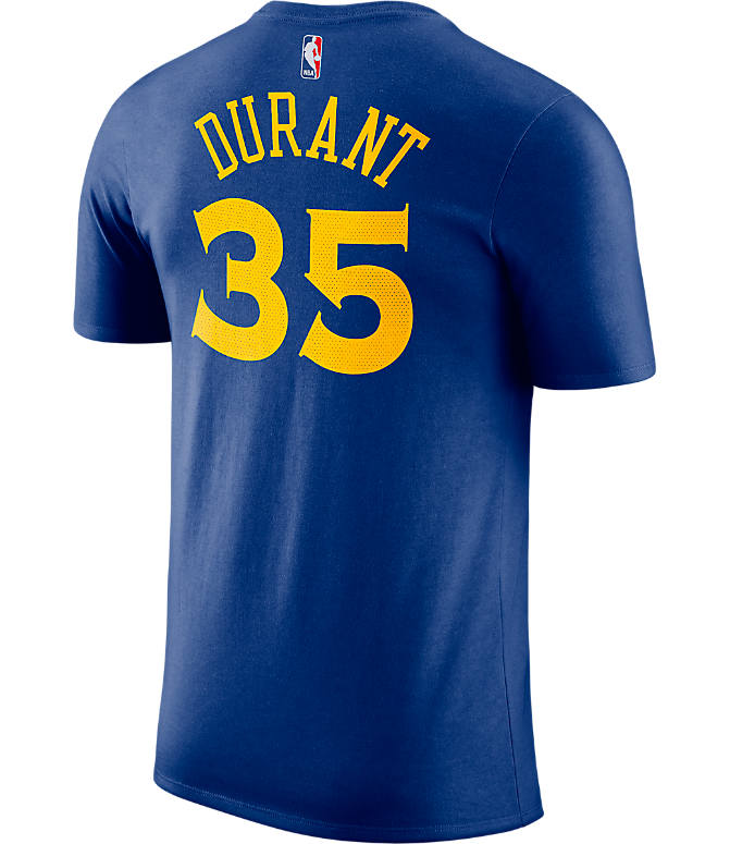 Front view of Men's Nike Golden State Warriors NBA Kevin Durant Name and Number T-Shirt in Rush Blue