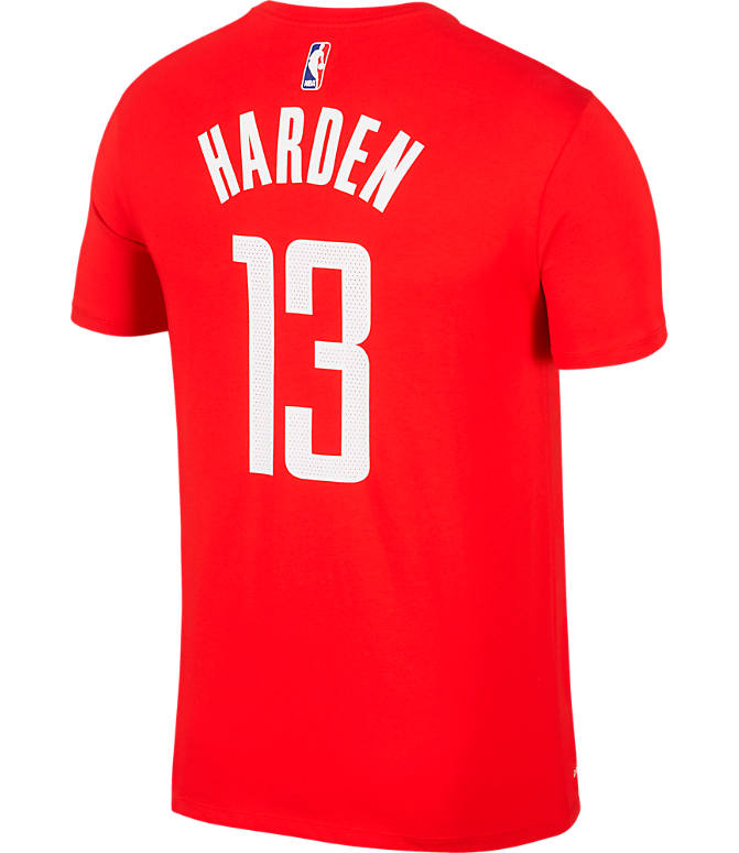 Front view of Men's Nike Houston Rockets NBA Name and Number T-Shirt in University Red