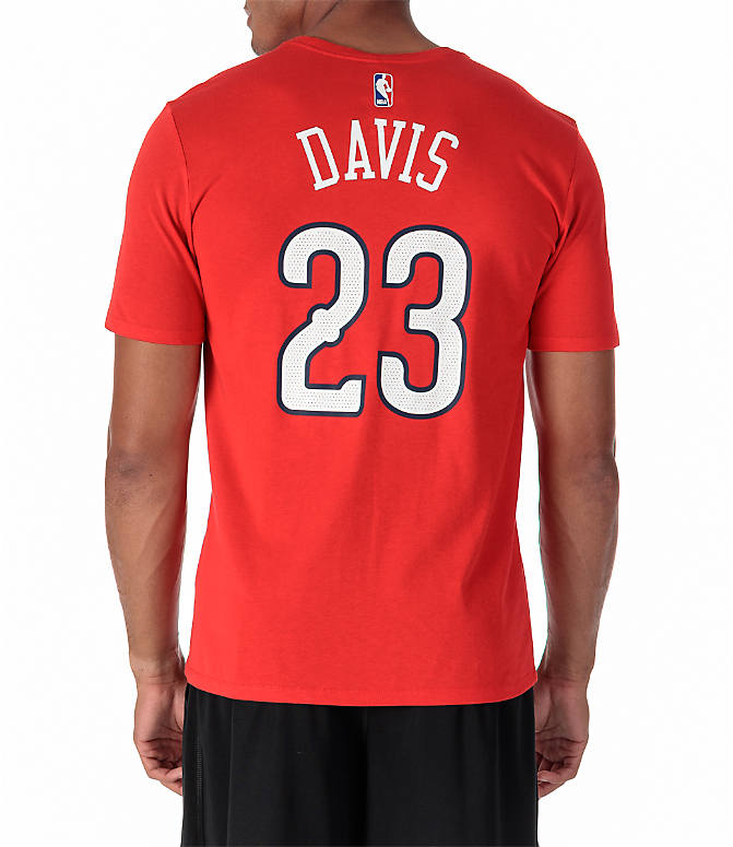 Front view of Men's Nike New Orleans Pelicans NBA Anthony Davis Name and Number T-Shirt in University Red