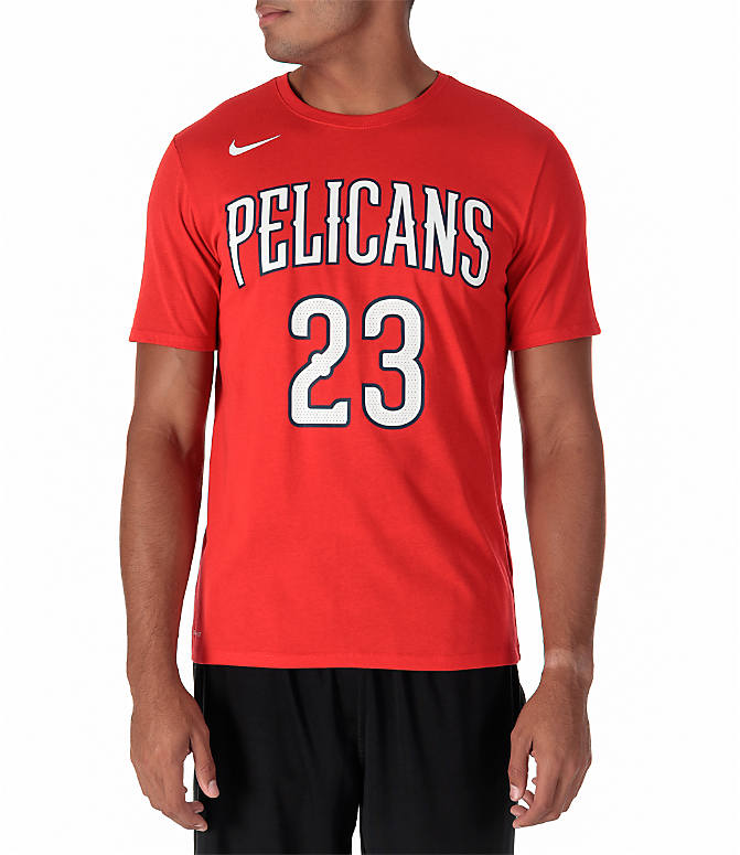 Back view of Men's Nike New Orleans Pelicans NBA Anthony Davis Name and Number T-Shirt in University Red