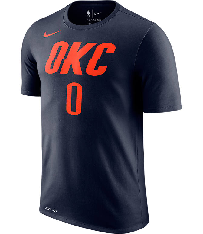 Back view of Men's Nike Oklahoma City Thunder NBA Russell Westbrook Name and Number T-Shirt in College Navy