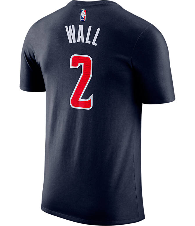Front view of Men's Nike Washington Wizards NBA John Wall Name and Number T-Shirt in College Navy