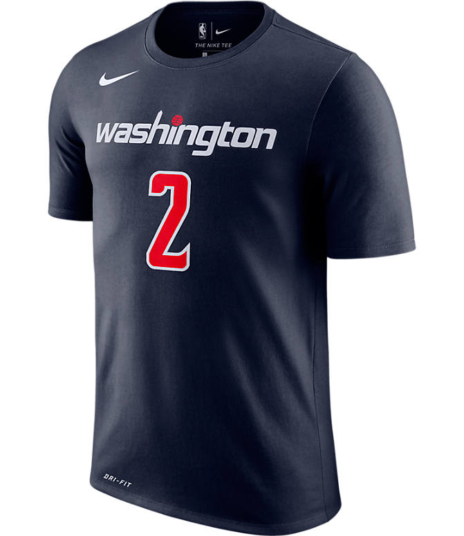 Back view of Men's Nike Washington Wizards NBA John Wall Name and Number T-Shirt in College Navy