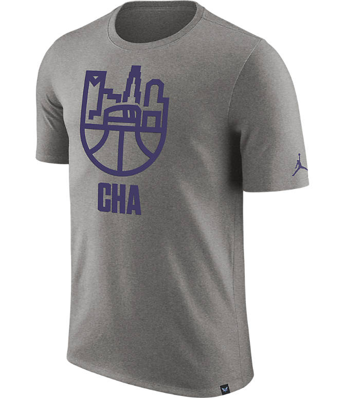Front view of Men's Nike Charlotte Hornets NBA Dry Cityscape T-Shirt in Dark Grey Heather