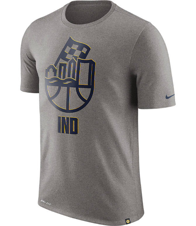 Front view of Men's Nike Indiana Pacers NBA Dry Cityscape T-Shirt in Dark Grey Heather