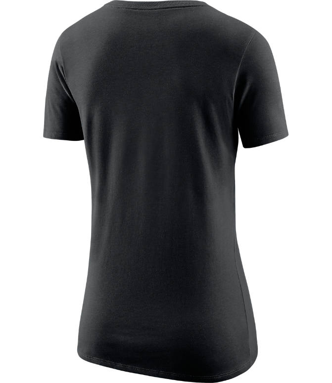 Back view of Women's Nike Brooklyn Nets NBA Dry Logo T-Shirt in Black