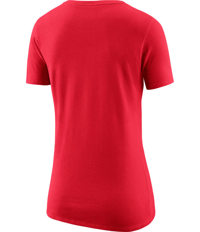 Back view of Women's Nike Portland Trail Blazers NBA Dry Logo T-Shirt in University Red