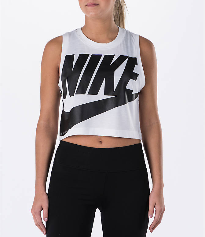 Front view of Women's Nike Sportswear Essential Crop Tank in White/White/Black