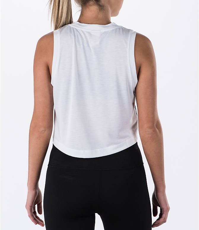 Back Right view of Women's Nike Sportswear Essential Crop Tank in White/White/Black