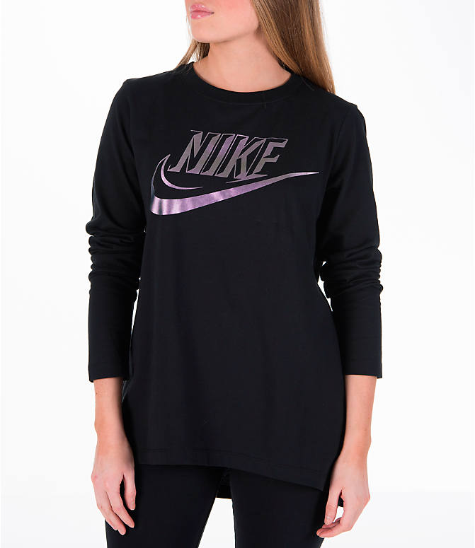 Front view of Women's Nike Sportswear Top in Black/Iridescent