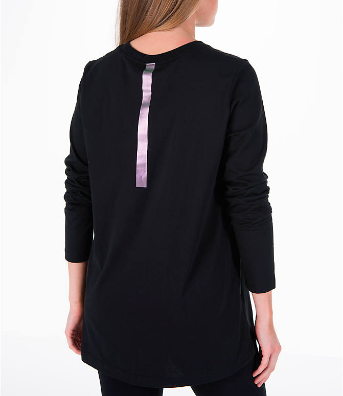 Back Right view of Women's Nike Sportswear Top in Black/Iridescent