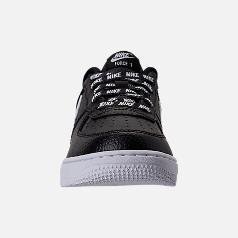 Front view of Boys' Preschool Nike NBA Force 1 Low LV8 Casual Shoes in Black/White