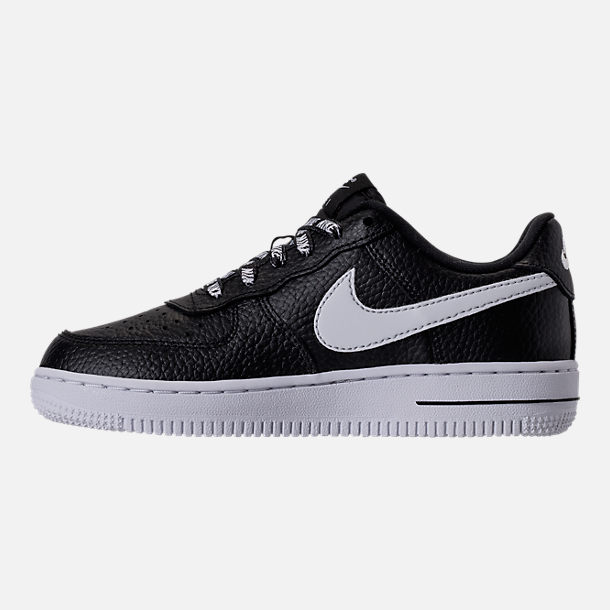 Left view of Boys' Preschool Nike NBA Force 1 Low LV8 Casual Shoes in Black/White