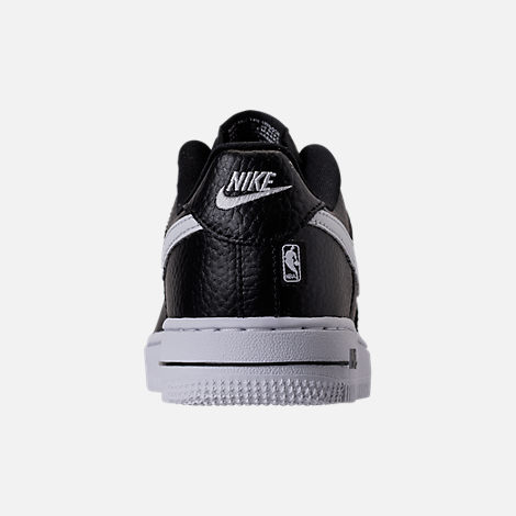 Back view of Boys' Preschool Nike NBA Force 1 Low LV8 Casual Shoes in Black/White