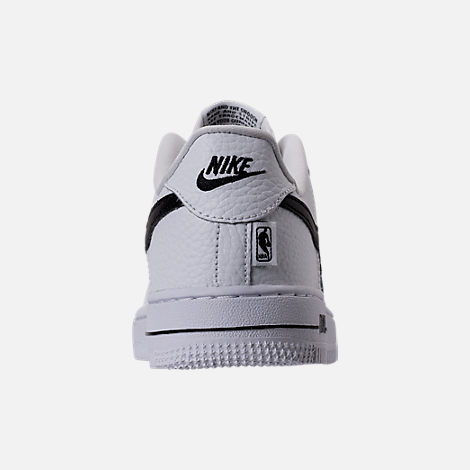 Back view of Boys' Preschool Nike NBA Force 1 Low LV8 Casual Shoes in White/Black