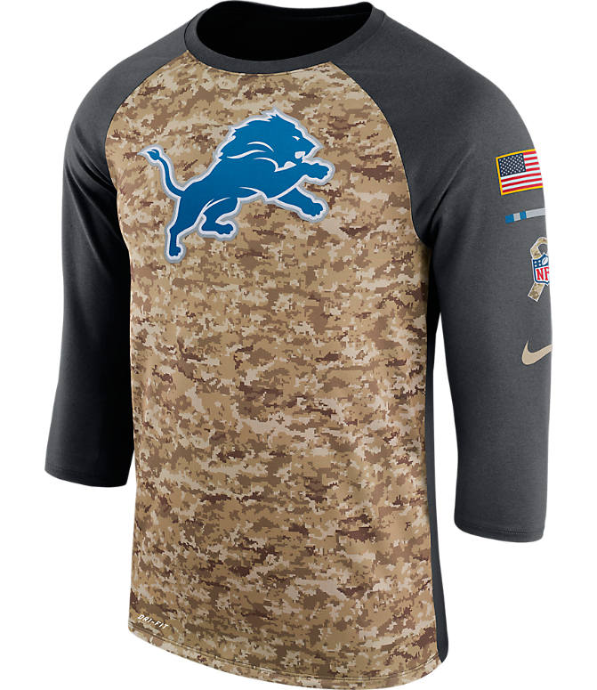 Front view of Men's Nike Detroit Lions NFL Salute to Service Raglan T-Shirt in Anthracite/Camo