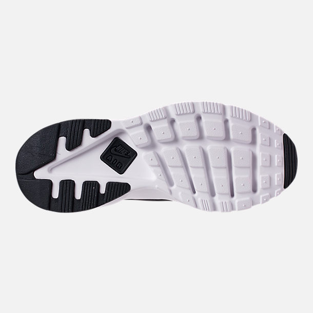 Bottom view of Men's Nike Air Huarache Run Ultra SE Casual Shoes in Black/White