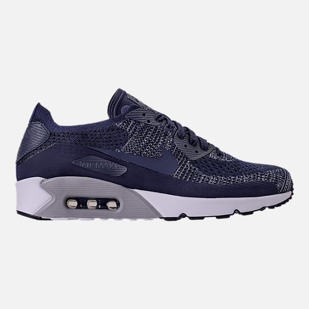 Right view of Men's Nike Air Max 90 Ultra 2.0 Flyknit Casual Shoes in College Navy/Wolf Grey