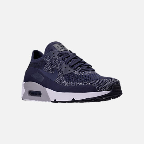 Three Quarter view of Men's Nike Air Max 90 Ultra 2.0 Flyknit Casual Shoes in College Navy/Wolf Grey