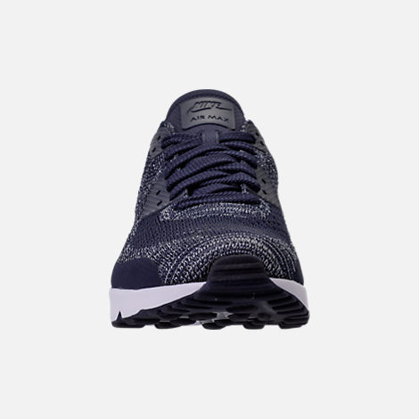 Front view of Men's Nike Air Max 90 Ultra 2.0 Flyknit Casual Shoes in College Navy/Wolf Grey