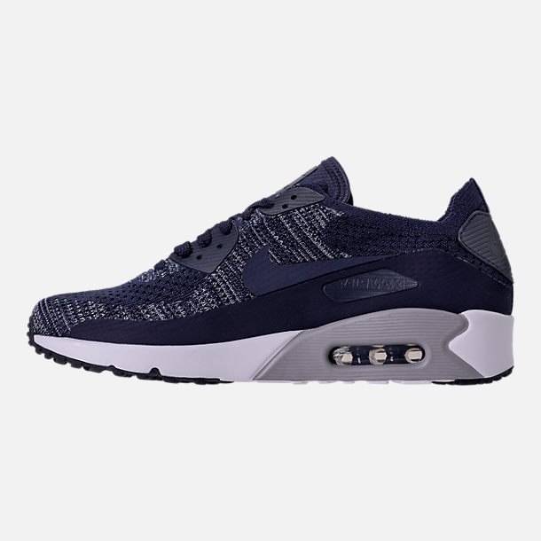Left view of Men's Nike Air Max 90 Ultra 2.0 Flyknit Casual Shoes in College Navy/Wolf Grey