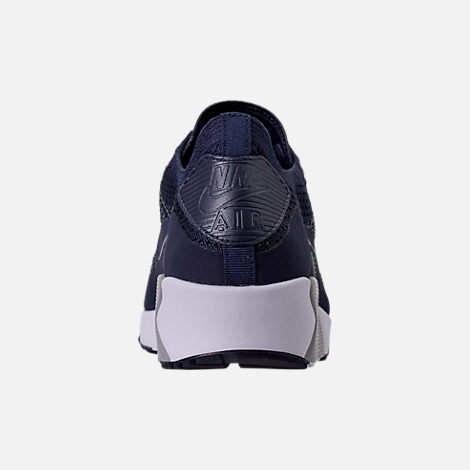 Back view of Men's Nike Air Max 90 Ultra 2.0 Flyknit Casual Shoes in College Navy/Wolf Grey