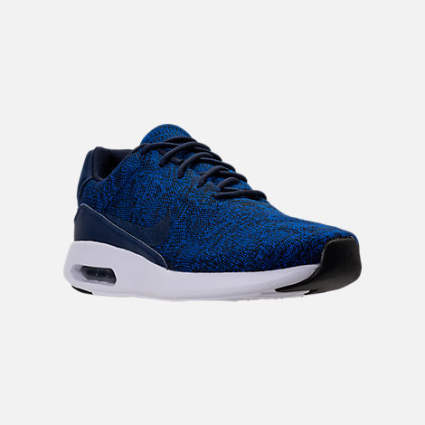 Three Quarter view of Men's Nike Air Max Modern Flyknit Running Shoes in College Navy/Black