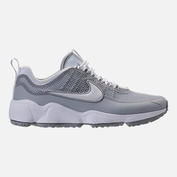 Right view of Men's Nike Air Zoom Spiridon Ultra Casual Shoes in White/Wolf  Grey