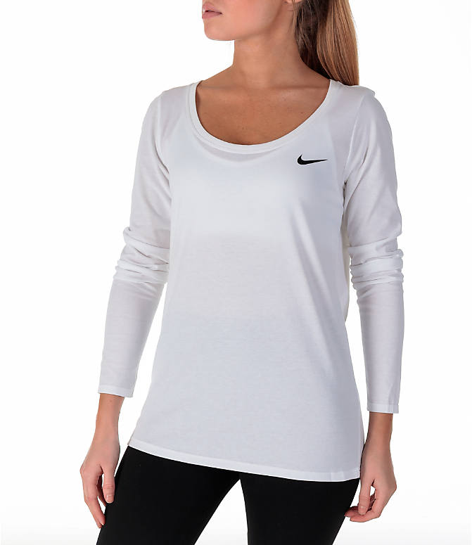 Front Three Quarter view of Women's Nike Dry Just Do It Training Shirt in White/Black