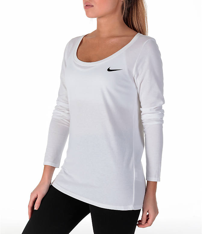 Back Left view of Women's Nike Dry Just Do It Training Shirt in White/Black