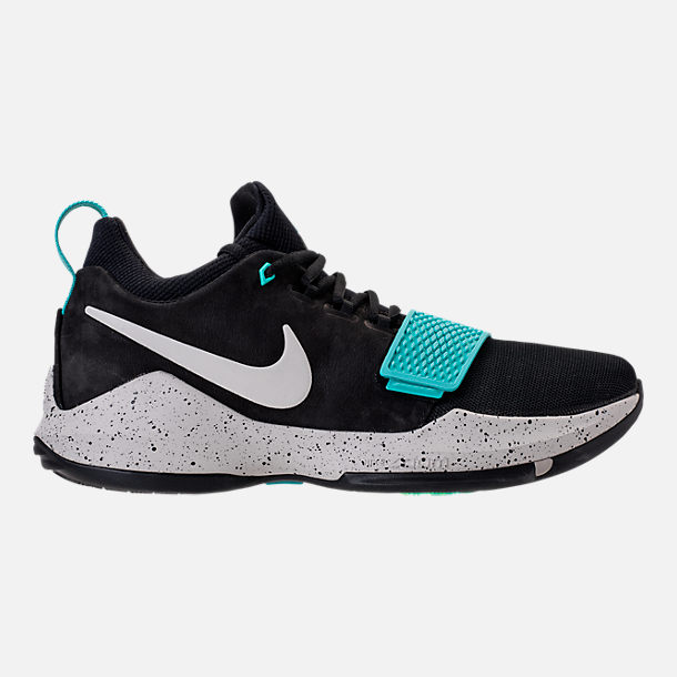 Right view of Men's Nike PG 1 Basketball Shoes in Black/Light Bone/Aqua