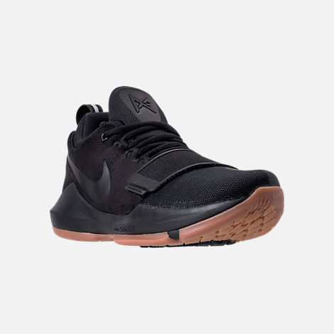 Three Quarter view of Men's Nike PG 1 Basketball Shoes in Black/Black/Anthracite