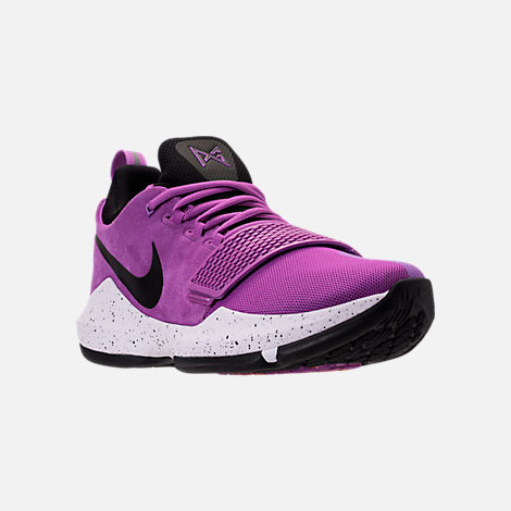 three quarter view of mens nike pg 1 basketball shoes in bright violet black