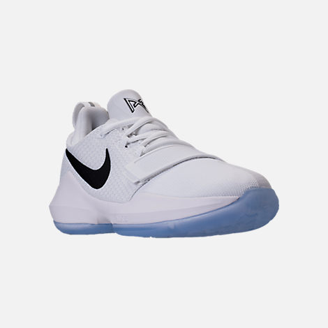 Three Quarter view of Boys' Grade School Nike PG 1 Basketball Shoes in  White/