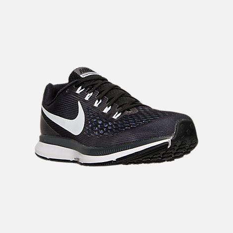 Three Quarter view of Men's Nike Air Zoom Pegasus 34 Running Shoes in  Black/White