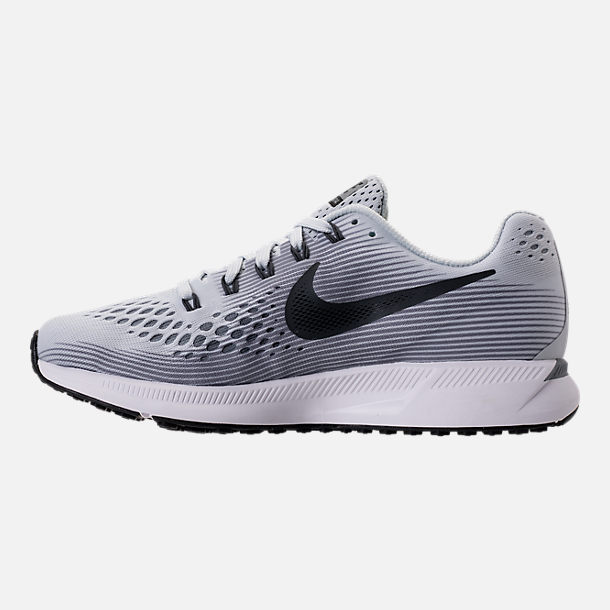 Left view of Women's Nike Air Zoom Pegasus 34 Running Shoes in Pure Platinum/Anthracite/Cool Grey