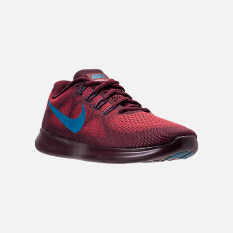 Three Quarter view of Men's Nike Free RN 2017 Running Shoes in Cedar/Industrial Blue/Night Maroon