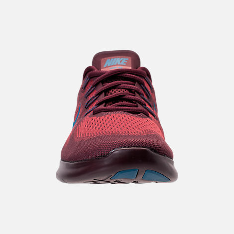 Front view of Men's Nike Free RN 2017 Running Shoes in Cedar/Industrial Blue/Night Maroon