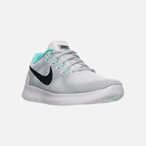 Three Quarter view of Women's Nike Free RN 2017 Running Shoes in White/Anthracite/Pure Platinum/Aurora