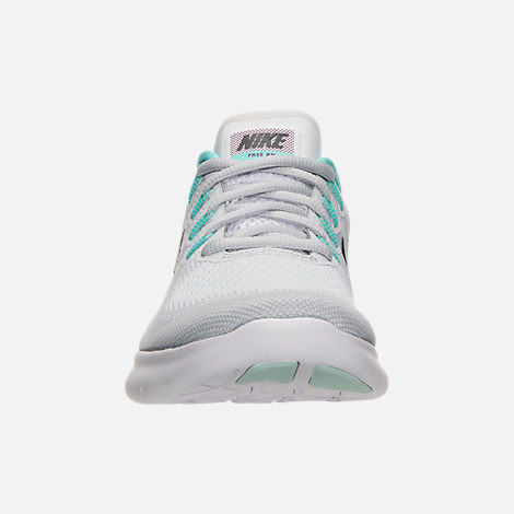 Front view of Women's Nike Free RN 2017 Running Shoes in White/Anthracite/Pure Platinum/Aurora