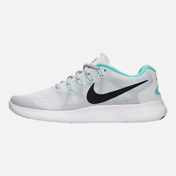 Left view of Women's Nike Free RN 2017 Running Shoes in White/Anthracite/Pure Platinum/Aurora
